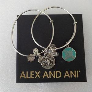 "Alex and Ani Set of Two ""Mom"" Silver Bracelets"